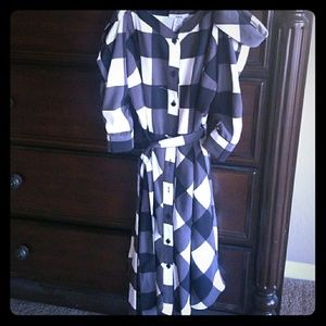 Gingam/Plaid off the shoulder dress by Bar III